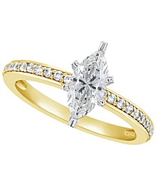 Certified Marquise Diamond Engagement Ring (1 ct. t.w.) in 14k White Gold, Rose Gold, or Yellow Gold