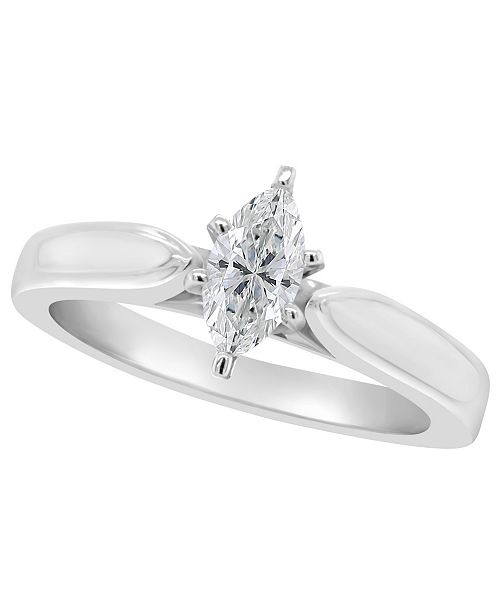 Macy's Certified Marquise Diamond Solitaire Engagement Ring (1/2 c.t. t.w.) in 14k White Gold, Rose Gold, or Yellow Gold