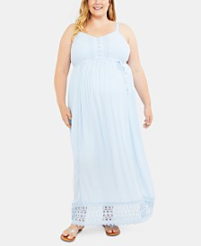Motherhood Maternity Plus Size Crochet-Trim Maxi Dress