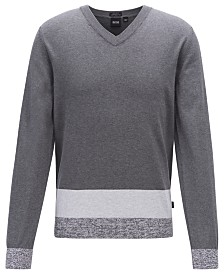 BOSS Men's Jastor V-Neck Italian Pima Cotton Sweater