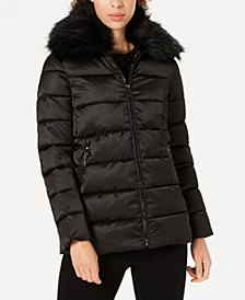 Faux-Fur-Collar Puffer Coat
