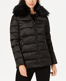 Tahari Faux-Fur-Collar Puffer Coat