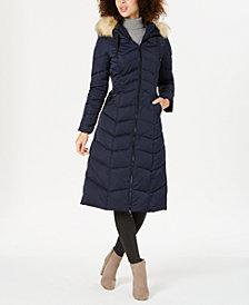 Tahari Hooded Faux-Fur-Trim Down Puffer Coat