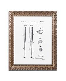 "Claire Doherty 'Baseball Bat Patent 1939 White' Ornate Framed Art - 11"" x 14"""