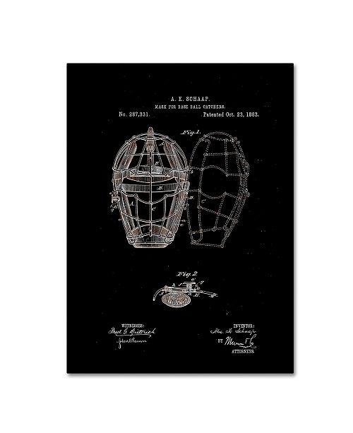"Trademark Global Claire Doherty 'Baseball Catcher's Mask Patent 1883 Black' Canvas Art - 35"" x 47"""