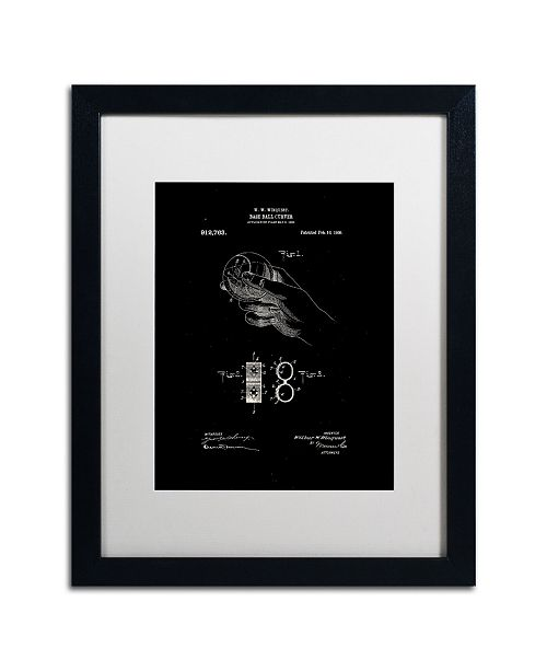 "Trademark Global Claire Doherty 'Baseball Curver Patent 1909 Black' Matted Framed Art - 16"" x 20"""