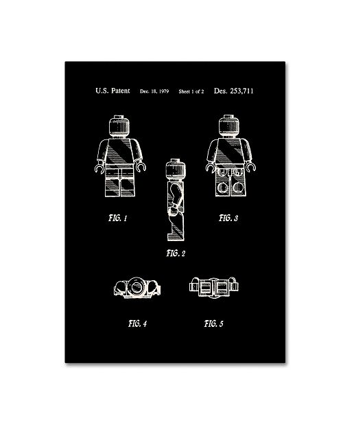 "Trademark Global Claire Doherty 'Lego Man Patent 1979 Page 1 Black' Canvas Art - 14"" x 19"""