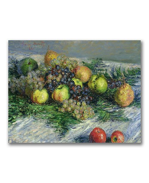"""Trademark Global Claude Monet 'Still Life with Pears and Grapes' Canvas Art - 47"""" x 35"""""""