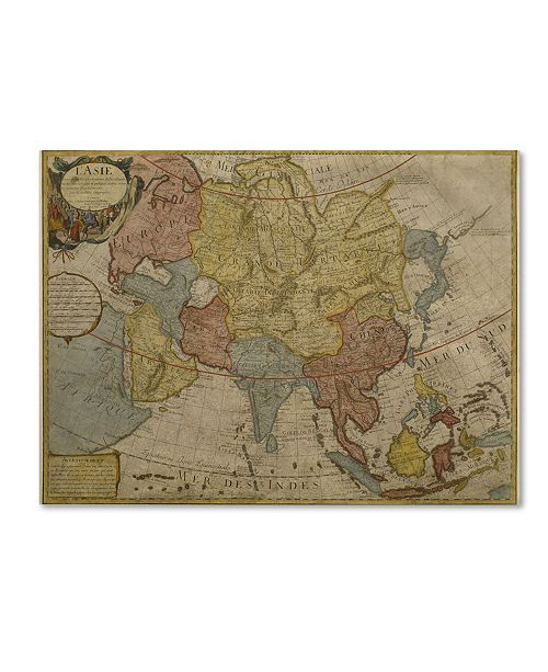"Trademark Global Paris Guillaume Delisle 'Map of Asia, 1700' Canvas Art - 24"" x 18"""