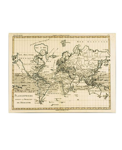 "Trademark Global Charles Bonne 'Mercator Map of the World' Canvas Art - 24"" x 16"""