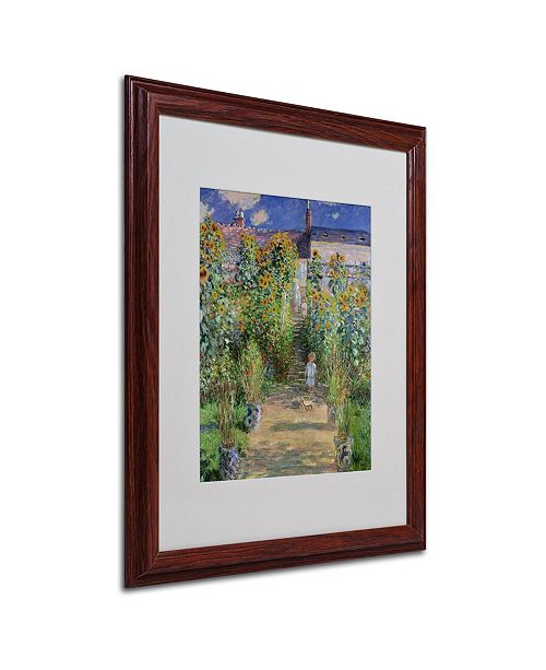 "Trademark Global Claude Monet 'The Artist's Garden at Vetheuil' Matted Framed Art - 20"" x 16"""