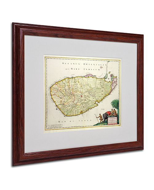 "Trademark Global Nicolaes Visscher 'Map of Ceylon 1626' Matted Framed Art - 20"" x 16"""