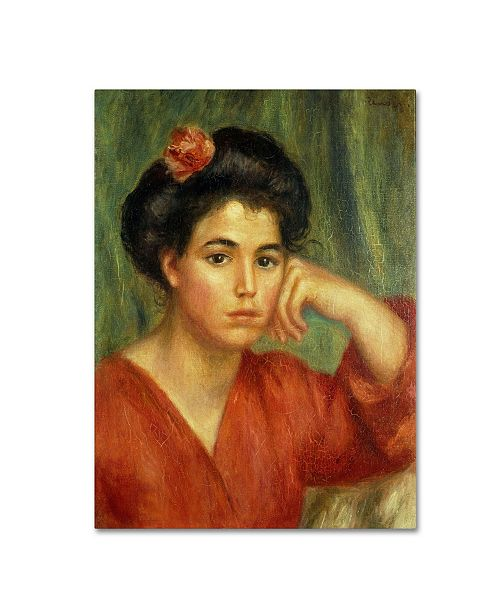 "Trademark Global Pierre Auguste Renoir 'Young Woman With a Rose 1907' Canvas Art - 24"" x 18"""