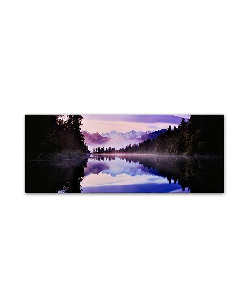 "Trademark Global David Evans 'Lake Matheson-NZ' Canvas Art - 19"" x 6"""