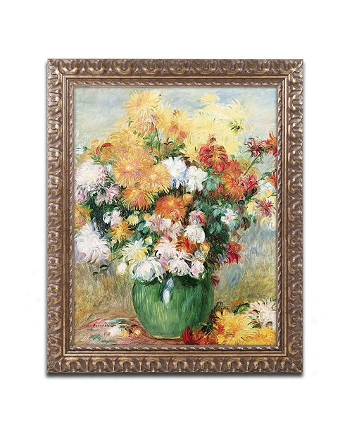 "Trademark Global Pierre Auguste Renoir 'Bouquet of Chrysanthemums' Ornate Framed Art - 11"" x 14"""