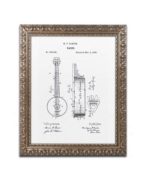 "Trademark Global Claire Doherty 'Vintage Banjo Patent 1896 White' Ornate Framed Art - 11"" x 14"""
