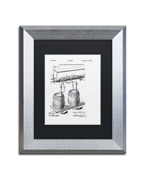 "Trademark Global Claire Doherty 'Art Of Brewing Beer Patent White' Matted Framed Art - 11"" x 14"""