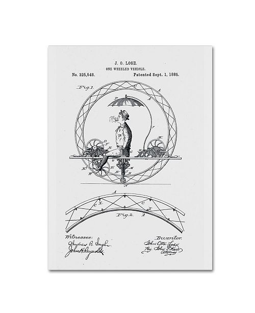 "Trademark Global Claire Doherty 'One Wheeled Vehicle Patent 1885 White' Canvas Art - 14"" x 19"""