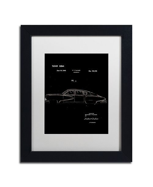 "Trademark Global Claire Doherty 'Tucker Sedan Patent 1949 Black' Matted Framed Art - 11"" x 14"""