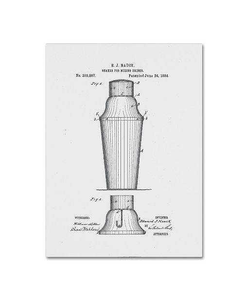 """Trademark Global Claire Doherty 'Cocktail Shaker Patent 1884 White' Canvas Art - 24"""" x 32"""""""