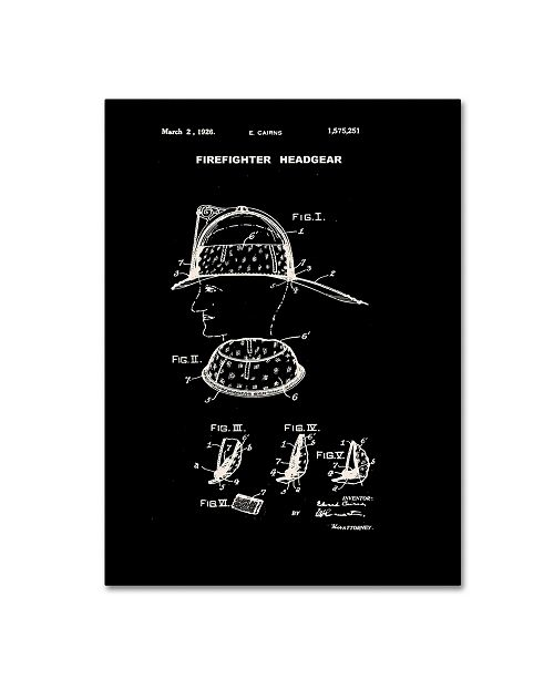 """Trademark Global Claire Doherty 'Firefighter Headgear Patent 1926 Black' Canvas Art - 14"""" x 19"""""""