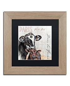 """Jennifer Redstreake 'Dans la Ferme Cow' Matted Framed Art - 11"""" x 11"""""""