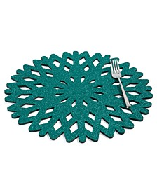 CLOSEOUT! Green Glitter Snowflake Placemat, Created for Macy's