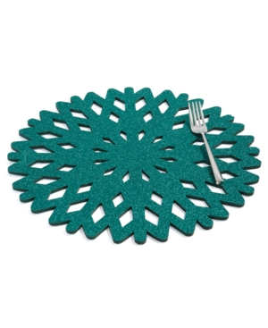 Closeout! The Cellar Green Glitter Snowflake Placemat, Created for Macy's