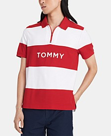 Men's Custom-Fit Stripe Zip Polo Shirt