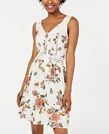 Juniors' Printed Crochet-Trimmed Mini Dress, Created for Macy's