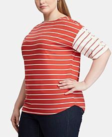 Plus Size Stripe-Print Cotton Lace-Up Top