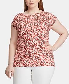 Lauren Ralph Lauren Plus Size Floral-Print Dolman-Sleeve Top
