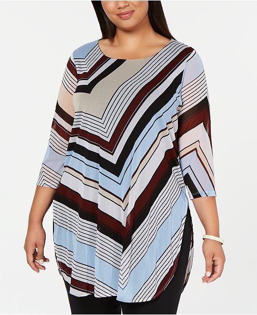 Alfani Plus Size Striped Super Tunic, Created for Macy's