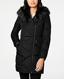 Asymmetrical Faux-Fur-Trim Puffer Coat