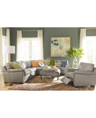 Lothan 3-Pc. Leather Queen Sleeper Sectional Sofa, Created for Macy's