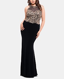 X by Xscape Plus Size Embellished Illusion Gown