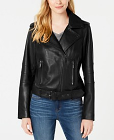 Michael Michael Kors Petite Leather Belted Moto Jacket, Created for Macy's
