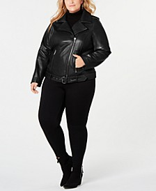 Plus Size Asymmetrical Belted Leather Jacket, Created for Macy's