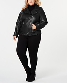 Michael Michael Kors Plus Size Asymmetrical Belted Leather Jacket, Created for Macy's