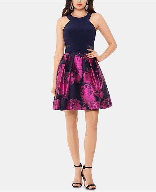 XSCAPE Halter-Neck Fit & Flare Dress