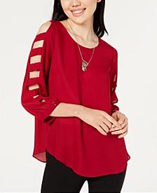 Juniors' Lattice-Sleeve Necklace Top