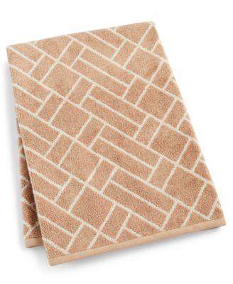"Block Geo Cotton 30"" x 56"" Bath Towel, Created for Macy's"