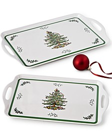 Christmas Tree Melamine Trays, Set of 2