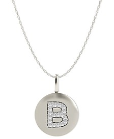 14k White Gold Necklace, Diamond Accent Letter B Disk Pendant