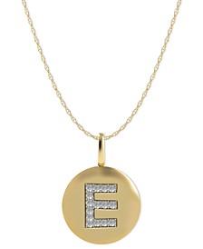 14k Gold Necklace, Diamond Accent Letter E Disk Pendant