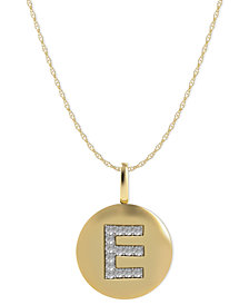 14k Gold Necklace, Diamond Accent Letter E Disk Pendant