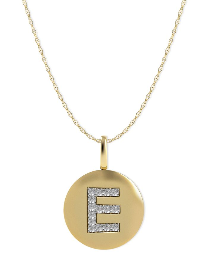 Macy's - 14k Gold Necklace, Diamond Accent Letter E Disk Pendant
