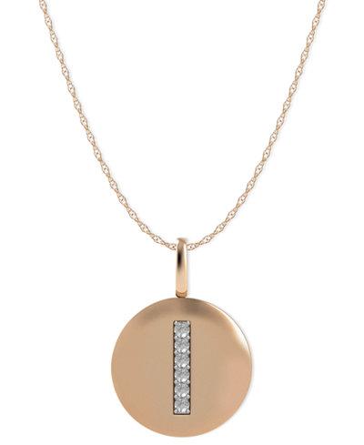 14k Rose Gold Necklace, Diamond Accent Letter I Disk Pendant