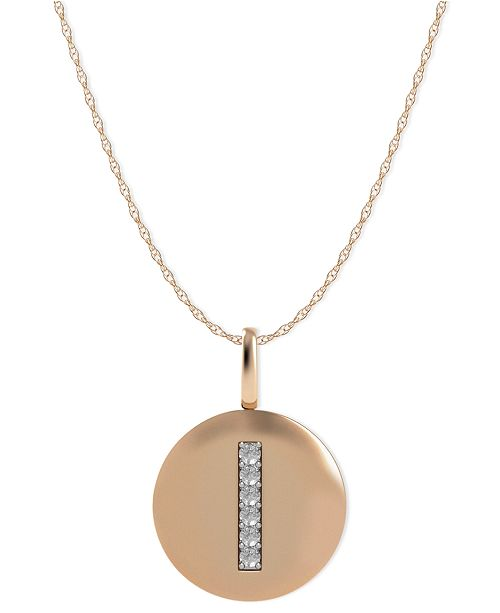 Macy's 14k Rose Gold Necklace, Diamond Accent Letter I Disk Pendant