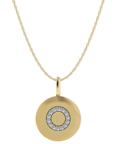 14k Gold Necklace, Diamond Accent Letter O Disk Pendant